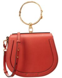 6b28fc76f Chloé Small Nile Leather & Suede Bracelet Bag in Red - Lyst