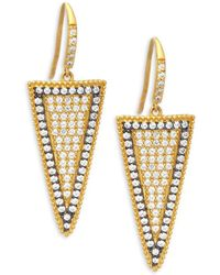 Freida Rothman - Pave Slice Gold Plated Drop Earrings - Lyst