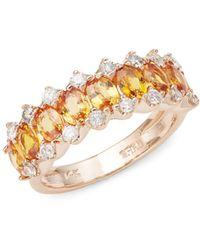 Effy - Diamond, Orange Sapphire & 14k Rose Gold Ring - Lyst