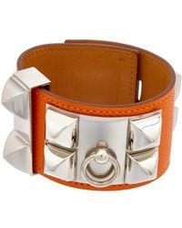 Hermès Silver-tone & Orange Leather Collier De Chien Bracelet - Multicolour