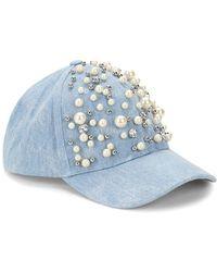 Betsey Johnson - Faux Pearl Embellished Denim Baseball Cap - Lyst