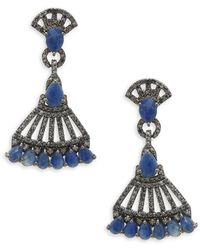 Bavna - Blue Sapphire, Champagne Diamond And Sterling Silver Earrings - Lyst