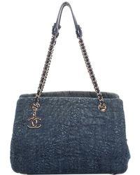 Chanel - Dark Blue Denim Mademoiselle Camellia Tote - Lyst