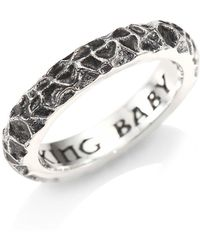 King Baby Studio - Men's American Craft Slashed Texture Sterling Silver Stackable Ring - Silver - Lyst