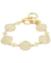 Freida Rothman - Classic 14k Gold-plated Sterling Silver Pave Disc Bracelet - Lyst