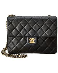 Chanel - Black Quilted Lambskin Leather Mini Single Flap Bag - Lyst