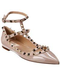 Valentino Rockstud Caged Leather Ballerina Flat - Brown