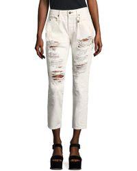 Tortoise - Savanna Embroidered Distressed Straight-leg Jeans - Lyst