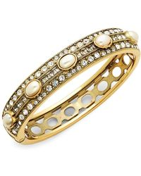 Heidi Daus - Faux Pearl And Swarovski Crystal Oval Bangle Bracelet - Lyst