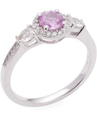 Rina Limor - 14k White Gold Pink And White Sapphire & Diamond Engagement Ring - Lyst
