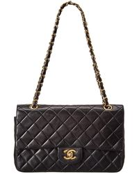 Chanel - Black Quilted Lambskin Leather Medium Double Flap Bag - Lyst
