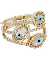 Diana M. Jewels . Fine Jewellery 14k 0.37 Ct. Tw. Diamond Evil Eye & Hamsa Ring