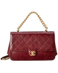 Chanel - Burgundy Quilted Calfskin Leather Accordion Flap Bag - Lyst