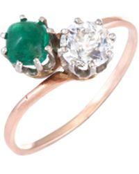 estate fine jewelry art deco sugarloaf moi et toi ring lyst