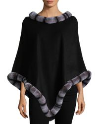 Surell - Black Wool Poncho With Rex Rabbit Chinchilla Trim - Lyst