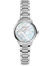 Burberry - Diamond, Mother-of-pearl & Stainless Steel Bracelet Watch - Lyst