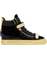 Cut Price Giuseppe Zanotti Suede Black Crystal embellished Wedge Sneakers