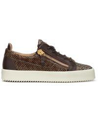 Giuseppe Zanotti - Devon Python-Embossed Leather Sneakers - Lyst
