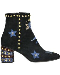 John Richmond - Embellished Suede Ankle-boots - Lyst