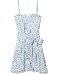 Lisa Marie Fernandez - Cornflower And Cream Ruffle Slip Dress - Lyst