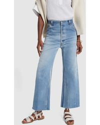 RE/DONE - High-rise Wide-leg Cropped Jeans - Lyst