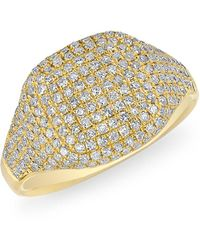 Anne Sisteron 14kt Yellow Gold Diamond Cushion Pinkie Ring