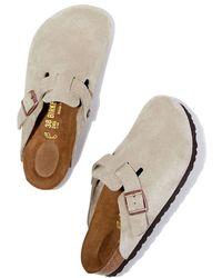 Birkenstock - Boston Suede Slides Sandal - Lyst