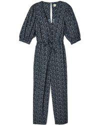 Rebecca Taylor - Short-sleeve Chinon Floral Jumpsuit - Lyst