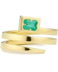 Jemma Wynne - Coil Ring With Emerald - Lyst