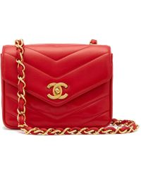 What Goes Around Comes Around - Chanel Red Lambskin Chevron Flap Bag - Lyst