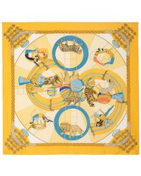 What Goes Around Comes Around - 1983 Hermès Yellow Circus Printed Scarf - Lyst