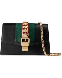 Gucci Sylvie Leather Mini Chain Bag - Black
