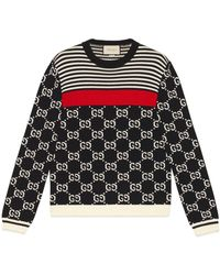 Gucci - GG And Stripes Knit Sweater - Lyst