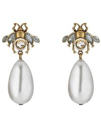 Gucci - Bee Earrings With Drop Pearls - Lyst