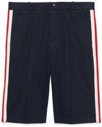 Gucci - Shorts in cotone con motivo Web - Lyst