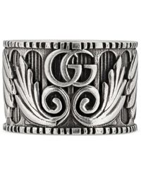 Gucci - Ring With Double G And Leaf Motif - Lyst