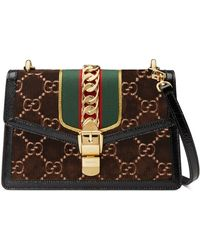 5e46ac185cd Gucci - Sylvie GG Velvet Small Shoulder Bag - Lyst
