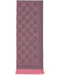 Gucci - Schal aus Strick mit GG Jacquard Muster - Lyst