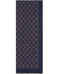 ee3fe52aa7 Gucci - Sciarpa in lana con motivo GG metallizzato - Lyst
