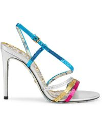 Gucci - Metallic Leather Sandals With Sequins - Lyst