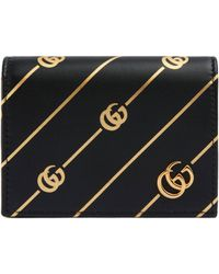 Gucci - Leather Card Case With Double G Stripe - Lyst