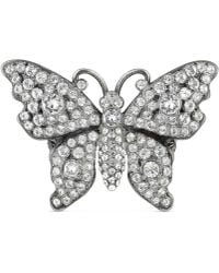 Gucci - Crystal Studded Butterfly Ring In Metal - Lyst