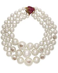 Gucci - Layered Pearl Necklace With Strawberry - Lyst