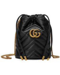 Gucci - GG Marmont Mini Bucket Bag - Lyst