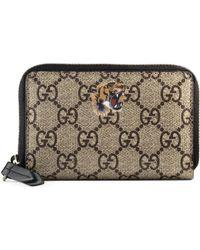 24ba6de8a2c239 Gucci Tiger Print Gg Supreme Wallet in Natural for Men - Lyst