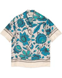 Gucci - Bowling Shirt With Watercolor Flowers - Lyst
