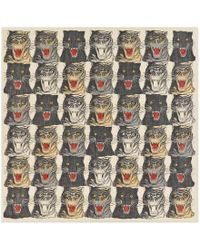 Gucci - Tiger Face Print Wool Silk Shawl - Lyst