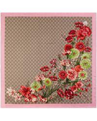Gucci - Halstuch aus Seide mit GG Blumenstrauß-Print - Lyst
