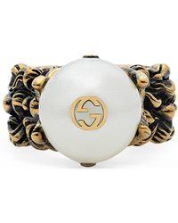 Gucci - Bague texturée avec perle de verre couleur crème - Lyst aed25009320