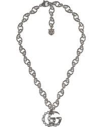 Gucci - Doppel G Halskette mit Kristallen - Lyst